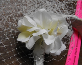 Wedding Headband with beads, silk flower and sequins bridal accessory