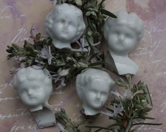 4 Antiques China Doll Heads Broken Porcelain 1 inch