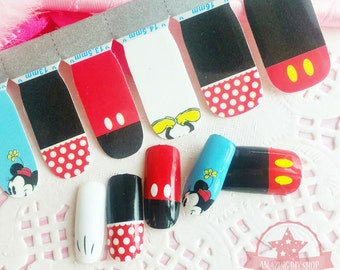 Mickey Mouse black red one set of Full Nail polish strips wraps stickers    ~QJ-1043