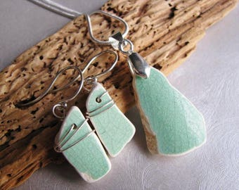 Green Ceramic Set - Sea Glass - Jewelry Set - Ceramic Sea Glass - Very Rare Ceramic from the Beach - Prince Edward Island Pure Sea Glass