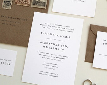 Simple Wedding Invitations | Modern Wedding Invitation Design, Simple Modern Wedding Invites, Serif font wedding invitations, Black, white