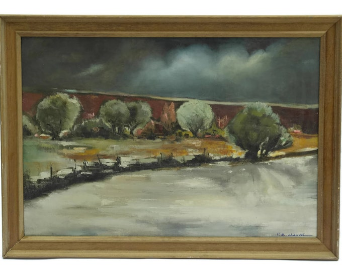French Landscape Painting with River. Large Framed Original Art by Pierre Chauvet.