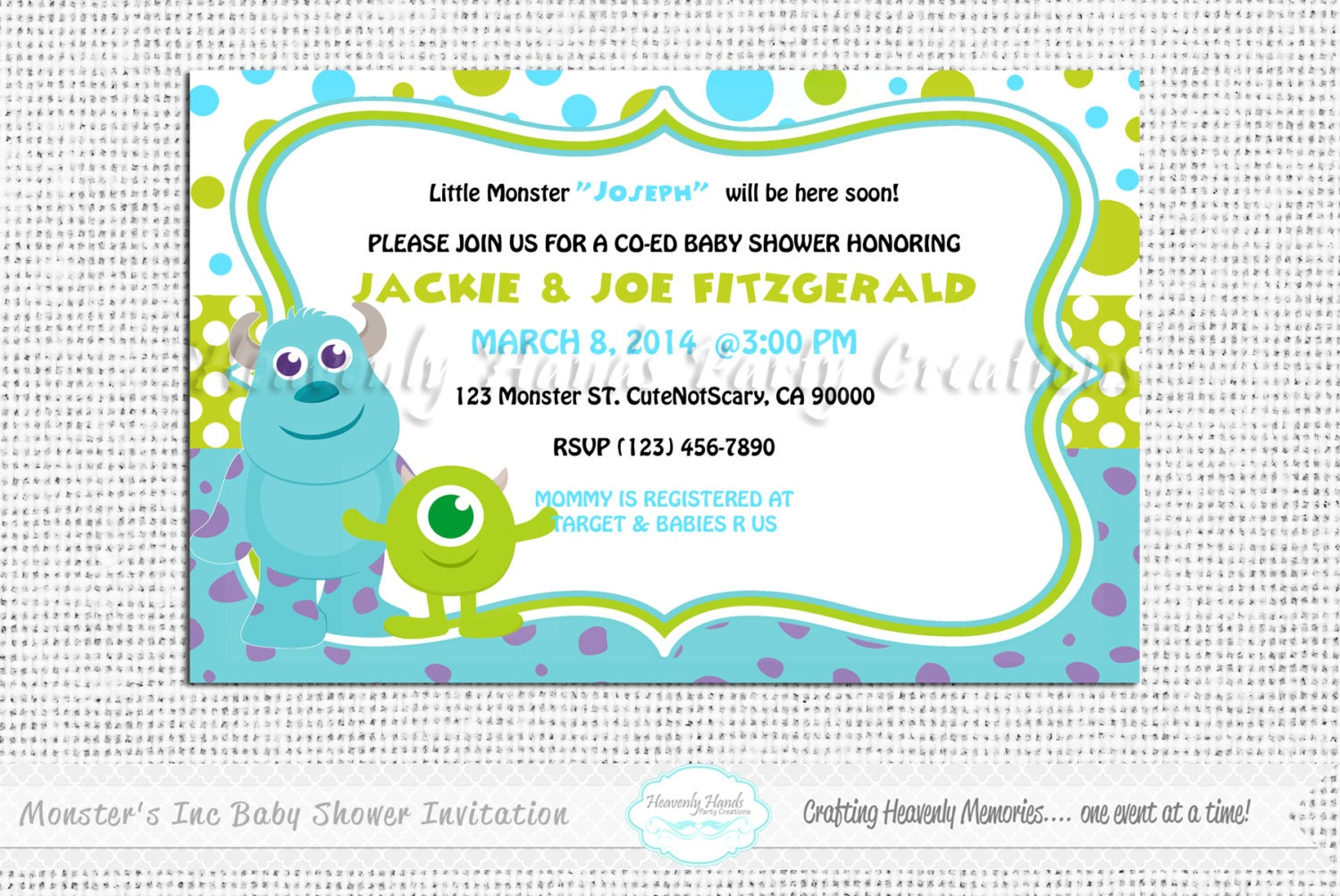 Monsters Inc Baby Shower Invitations Little Monsters Baby Shower Digital  Invi On Baby Shower Invitations Boy