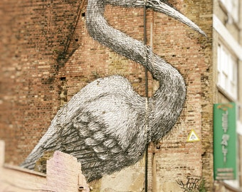 Graffiti Photography, London Street Art,  ROA, Crane, Fine Art Print, Wall Art, Urban Photo, Home Decor, brick, brown