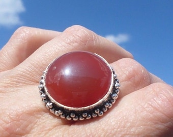 RING 925 sterling silver and CARNELIAN (BA60-21)