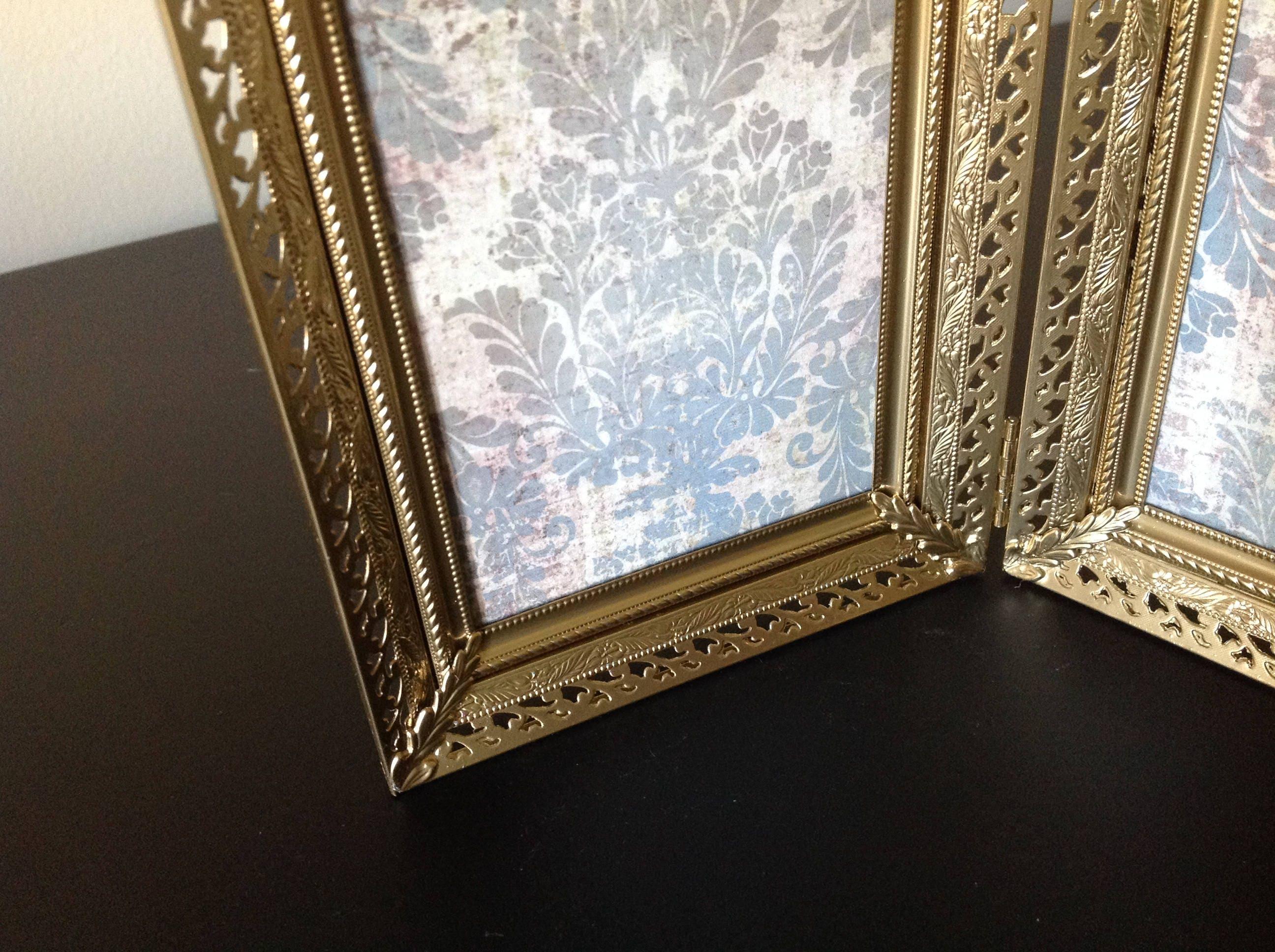 Doble estructura de Metal oro, Vintage adornado afiligranado Marcos ...