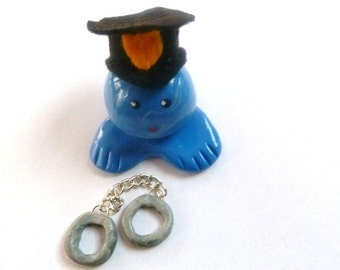 Mini Marble Friend Policeman with Handcuffs Hat can be Personalized