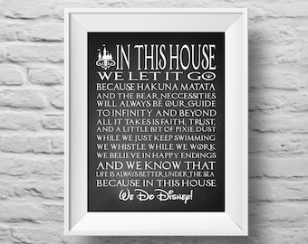 IN THIS HOUSE chalkboard style Disney inspired unframed art print Typographic poster, inspirational print, wall decor, quote art. (R&R0105)
