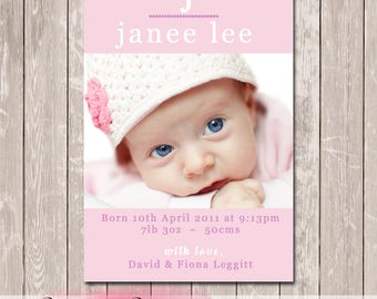 Baby Girl Photo Personalised Birth Announcement - YOU PRINT
