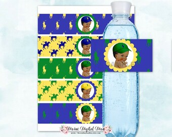 Water Bottle Labels   African American Ponies Yellow Green & Blue   Little Prince Vintage Baby Boy   Digital Instant Download