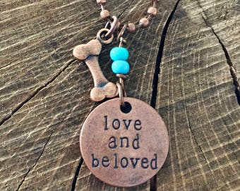 Dog Bone Love and Beloved Disc Turquoise Beads Copper Ball Chain