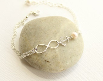 Sterling Silver Minimalist Infinity and Anchor Bracelet with Your Choice of Stone