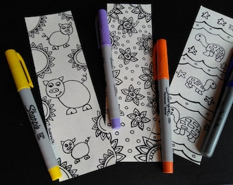 Bookmarks coloring, coloring bookmark, flower, pig, turtle
