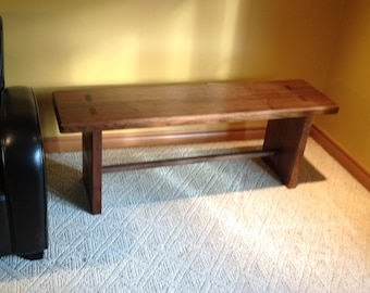 A solid black walnut bench with exposed tenons. Perfect for entryway , window seat , or anywhere.