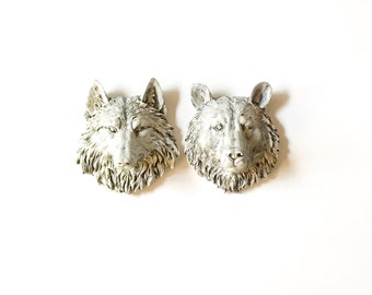 Set of 2, Faux Aged SMALL Wolf + Bear, Faux Taxidermy, Small Animal Head, Animal Head Set, Faux Aged Bear Wolf, Faux Aged Animal Head, Gift