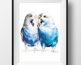 LOVEBIRDS Print - Original Watercolor Bird Art Print