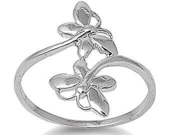 Women Sterling Silver Butterfly Ring 21mm / Free Gift Box(SNRP141306)