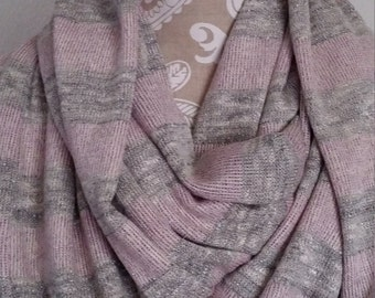 Pink and Gray Knit Infinity Scarf , Women's scarves, warm scarves, Winter scarf, Womens winter scarves, winter accessories, gift for her