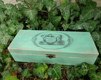wooden tea box/ shabby tea box/ tea storage box - REYNOLDS, 4 compartments