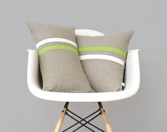 Linen Pillow Cover, Lime Green and Cream Stripes, 16x16 or 12x20, Modern Home Decor by JillianReneDecor, Spring Home Decor, Pantone Greenery