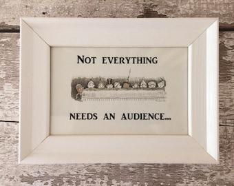 Humorous Bathroom Sign for Parents, Framed (White)