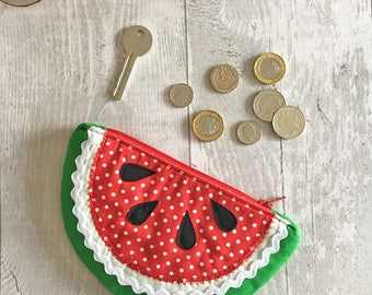 Red Slice of Watermelon Fruit Coin Purse