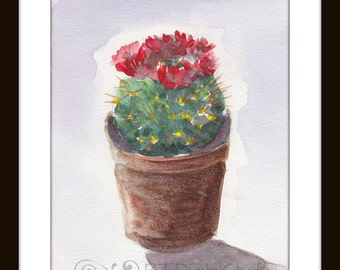Potted Cactus With Red Blooms in water color- Original Art Print