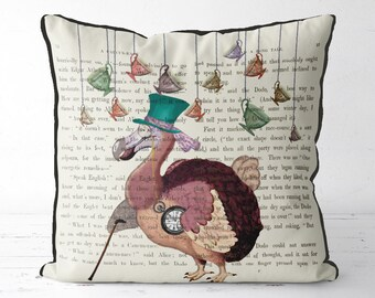 Alice in wonderland pillow cover - Dodo pillow dodo cushion - alice in wonderland decor dodo bird print decorations mad hatters tea party