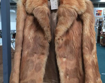 Vintage fur , red fox, size Medium , 38