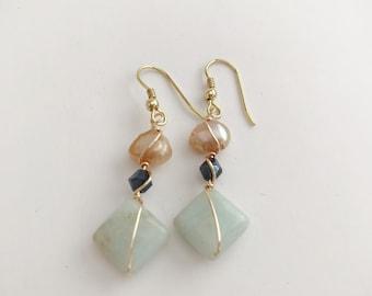 Amazonite drop earrings