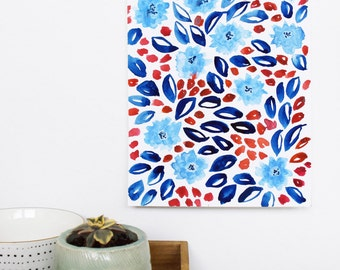 Original Watercolor Painting, Cornflowers, Blue floral, original painting