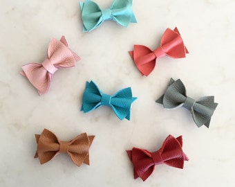 Leather Bow Hair Clip - pick your color