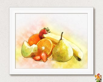 Fruit Print Food Art Kitchen Decor Wall Dining Room