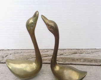 Vintage Solid Brass Mid Century Swans