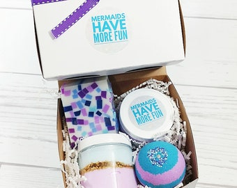 Spa Gift Set. Let's be Mermaids Gift. Mermaid Party Birthday Gift for Women. Gift for Her. Gift For Women.Mermaid bath bomb Mermaid Spa Bath
