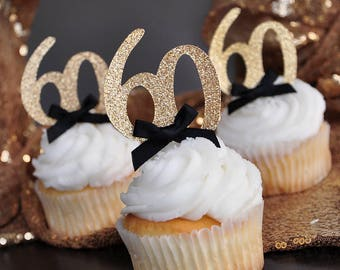 "60th Birthday Party Ideas.  Handcrafted in 2-5 Business Days. Glitter Gold Number ""60"" Cupcake Toppers 12CT."