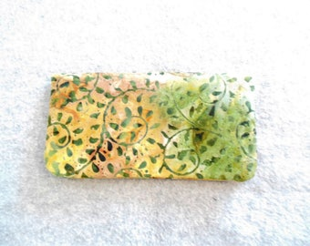 Fabric Checkbook Cover - Green Leaves Batik