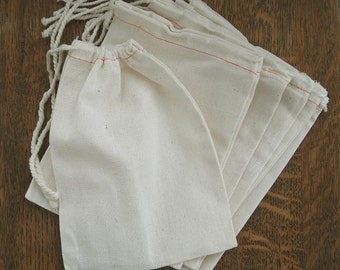 """25 MUSLIN  Drawstring Bags  5 x 7"""" Natural Cotton Muslin bags  gift bags, product bags, wedding bags, party bags, favor bags, fabric bags"""