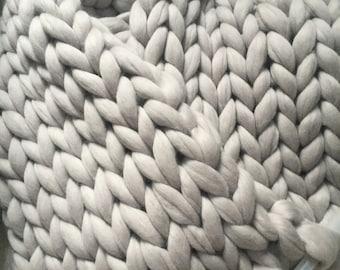 Super chunky knit blanket, Merino wool blanket, Wool throw, Extra soft 18 microns premium Merino wool, Express shipping