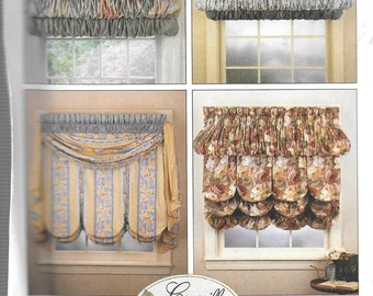 McCall's Home Decorating Pattern 7485 SWAGS/HEADERS/SHADES/Valances