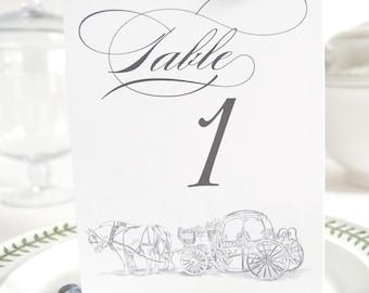 Disney Fairytale Wedding Carriage Skyline Table Numbers (1-10)
