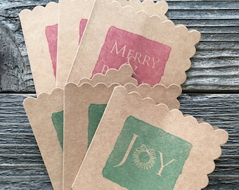 Christmas Cards, Christmas Enclosure Cards, Gift Cards, Gift Tags, Stamped Cards, Enclosure Cards, Kraft Enclosure Cards, Small Gift Cards