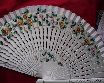 F-0003 - Wooden Hand Painted Hand Fan - Georgian Fan, Regency Fan, Victorian Fan, Hand Fan,
