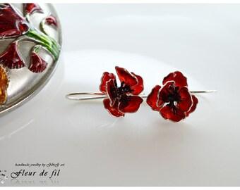 "Handmade Earrings - ""Poppies"", Sterling silver Earrings, Copper wire, Crystal resin Earrings, Red Earrings"