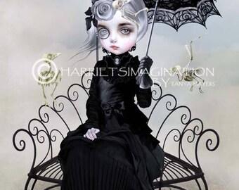 Creepy cute art print | Gothic lolita and skeletal birds | Quirky wall art | A4 Print | Strange girl