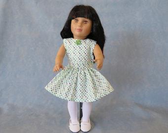 "Sleeveless Shamrock St. Patrick's Day 18"" Doll Dress - Light Green Shamrock"