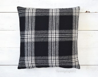 Black and Off White Wool Plaid Pillow Cover -Plaid Pillow, Black Plaid Pillow, Decorative Pillow, Farmhouse  Pillow, Throw Pillow, Pillows