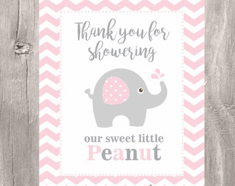 Pink Elephant Baby Shower Sign, Instant Download, 8 x 10 Thank You for Showering our Sweet little Peanut, Baby Shower Decoration