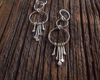 Sterling silver hoop earrings. Long dangle hoops. Silver dangle hoops.