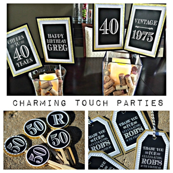 40th Birthday Party Decor. Black And Gold Party Decor By
